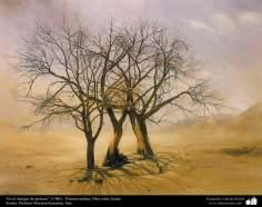 """هنراسلامی - نقاشی - رنگ روغن روی بوم - اثر استاد مرتضی کاتوزیان - """"در لبه کویر"""" -  (1980)"""