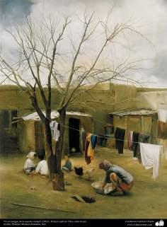 """Art islamique - peinture à l'huile sur toile - artiste: M. Katouzian -""""Sur le bord de notre village"""" (2003)"""