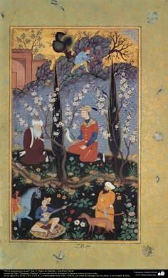 """""""Na presença do acético"""" - miniatura do livro """"Muraqqa-e Golshan"""" - 1605 e 1628 dC."""