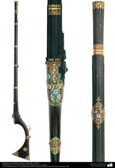 戦争用・装飾用の古い用品 - 絶妙な装飾品つきのショットガンズ -インド1835 -2