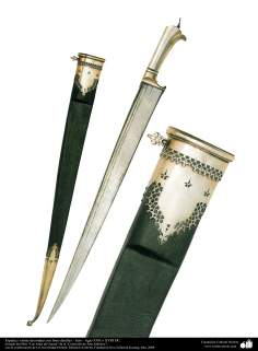 Weapons and decorated enamelware - Sword and sheath decorated with fine details - DC seventeenth or eighteenth century. (2)