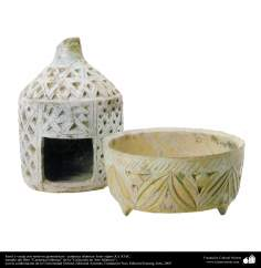 Farol y vasija con motivos geométricos– cerámica islámica- Irán- siglos X y XI dC.