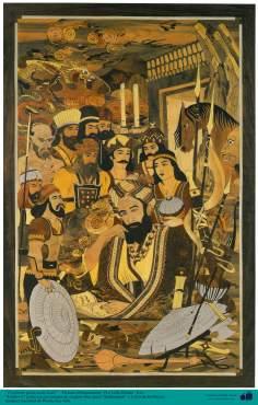 """""""Ferdowsi"""", o grande poeta iraniano com personagens de sua grande obra épica """"Shahnameh"""" - Marchetaria Persa"""