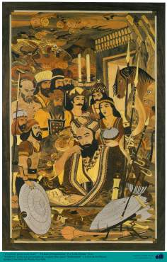 """Ferdowsi"", great Iranian poet,  along with charachters of his great epic masterpiece ""Shahnameh"" - Taracea (Marquetry)"