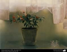 """هنراسلامی - نقاشی - رنگ روغن روی بوم - اثر استاد مرتضی کاتوزیان - """"گل اناری قرمز"""" - (1999)"""