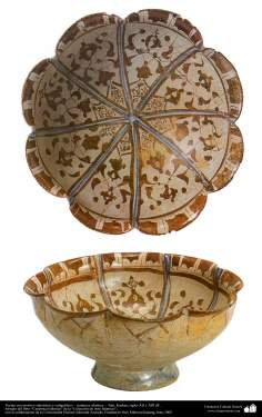 Islamic Pottery & ceramics - The two view of bowl with geometric and calligraphic motifs - Kashan , XII and XIII centuries AD. (16)