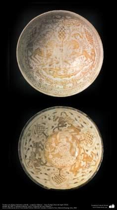 Cerâmica islâmica  - Fontes com desenhos de ornamentação, Kashan, Irã, final do século XII d.C (31)