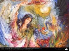 Génesis ( detalle).1997 , Obras maestras de la miniatura persa; Artista Profesor Mahmud Farshchian, Irán