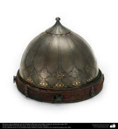 Les instruments anciens et décoratifs de la guerre  - beau chapeaux orné du nom de Dieu - XIXe siècle - Iran