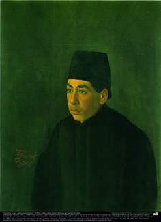 """""""Hombre joven -del periodo Qayar-"""" (1881) - Óleo sobre lienzo; Pintura de Kamal ol-Molk"""