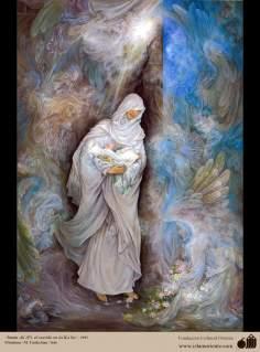 Arte islamica-Capolavoro di miniatura persiana-Maestro Farshchian-Nascita di Imam Ali a Kàba
