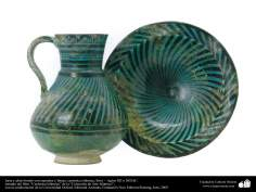 Jarra y plato hondo con espirales y líneas; cerámica islámica, Siria –  siglos XII o XIII dC. (93)