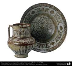 Jarra y plato hondo con motivos vegetales – cerámica islámica –  Irán, Kashan, fines del siglo XII dC.