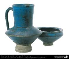 Islamic Pottery - Islamic ceramics - Blue Pitcher and vessel - XIII century AD Iran.