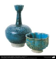 イスラム美術 - イスラム陶器やセラミックス - 書道や人の顔の形をモチーフにした水差し・ボール - イラン - 12世紀