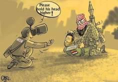 """Der beste Bild des Jahres der """"Time"""" Magazin - Ein Terrorist enthauptet einen syrischen Soldaten - Karikatur - Foto"""