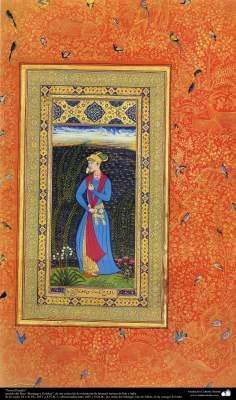 """Art islamique - un chef-d'œuvre du  miniature persan - Jeune chômeur - le petit livre """"Muraqqa-e Golshan"""" - 1605, 1628-"""