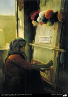"""Arte islamica-Pittura-Olio su tela-Opera di maestro Morteza Katusian-""""Giovane tessitrice""""-1996"""