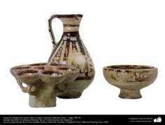Cerâmica islâmica - Jogo de candeeiro, jarra e taça, Síria –  século XIII d.C. (42)