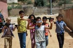 ガザのパレスチナの子どもたちの遊び
