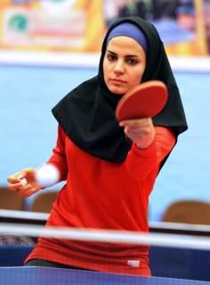 Jugadora musulmana de ping pon