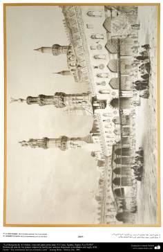 L'art et l'architecture islamique dans les peintures. La mosquée d'Al-Azhar, la vue principale de la cour. Le Caire, Egypte, siècles X-XVIII