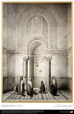 Arte y arquitectura islámica en pinturas - La Mezquita de Muhammad ibn Qalawun, vista del Mihrab, El Cairo, Egipto, siglo XIV