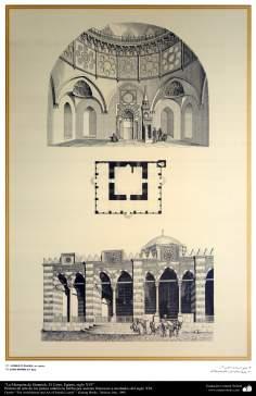 Peinture de l'art et de l'architecture des pays islamiques -la mosquée de Sinanieh, le dôme et les détails intérieurs- Caire, Egypte-XVIe siècle