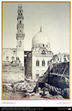 Art & Islamic Architecture in painting - The view of Mosque and Tomb of al-Ghuri, Cairo, Egypt - XVI century
