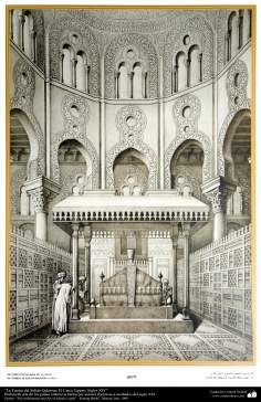 Art & Islamic Architecture in painting - Tomb of Sultan Qalawun in Cairo, Egypt, centuries XIV,