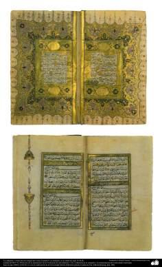 イスラム美術 - ペルシャのタズヒーブ - コーランの古代書道・装飾 - イスタンブール - 18世紀半ば- 211