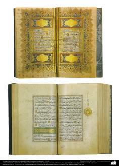 Caligrafia e ornamentação de um antigo Alcorão, Istambul, ou ao seu arredor, 1703 d.C