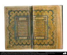 La caligrafía y ornamentación antigua del Corán; India, probablemente Heidar Abad o Golkanda, antes de 1710 dC. (12)