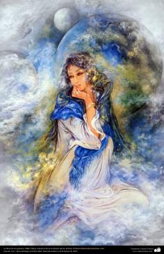 The goddess of galaxies 1988 - Persian painting (Miniature) - by Prof. M. Farshchian.