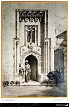 Peinture - art et l'architecture du monde islamique -  entrée du bain Al-Telat - XVIIIe siècle