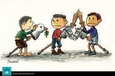 Caricatura - A guerra e a Paz