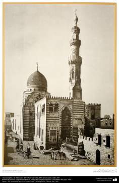 Art & Islamic Architecture in painting - The mosque and the Mausoleum of Sultan Qaytabai Cairo, Egypt, XV century,