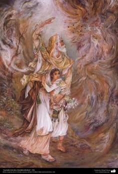 """""""La prueba más dura; El profeta Abraham"""", 2006, Obras maestras de la miniatura persa; por Profesor Mahmud Farshchian"""
