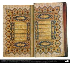 La caligrafía y ornamentación (tazhib estilo Goshayesh) antigua del Corán; India, 1686 dC.