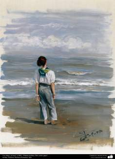 """The girl and the sea"" (1989) - Realistic Painting; Oil on Paper- Artist: Prof. Morteza Katuzian, Iran"