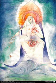 "Painting: ""The girl of the Mhrab""; Artist: Prof. F. Gol Mohammadi"