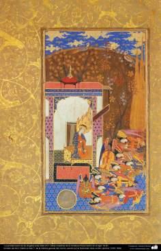 """اسلامی فن - ایرانی مینیاتور پینٹنگ (تصویرچہ) """"فرشتوں کا حضرت آدم(ع) پر سجدہ""""، سولہویں صدی عیسوی"""