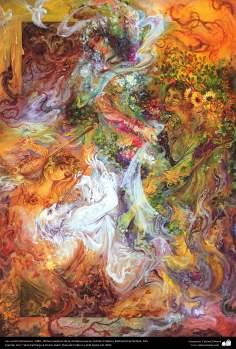 Arte islamica-Capolavoro di miniatura persiana-Maestro Mahmud Farshchian-Quattro stagioni-1989