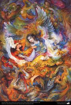 Liberación.1996 , Obras maestras de la miniatura persa; Artista Profesor Mahmud Farshchian, Irán