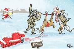 Ataques de terroristas a Papa Noel en Siria (caricatura)