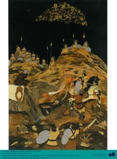 Rostam lutte avec l'empereur de Chine - Taracea (Marqueterie) Persique