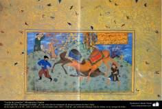 """اسلامی فن - """"مرقع گلشن"""" نام کی مختلف فنون کی تاریخی کتاب سے ایک مینیاتور پینٹنگ (تصویرچہ)، """"اونٹ سے لڑائی"""" - سن ۱۶۰۵ء"""