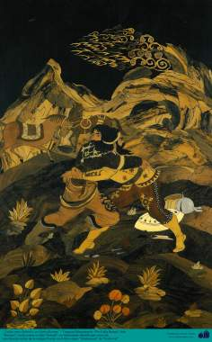 Исламское искусство - Ремесло - Моарраг Кари (маркетри) - Бой Сухраба со своим отцом Рустама