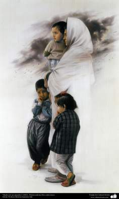 """Mother with her little kids"" (2002) - Realistic Painting; Oil on Canvas- Artist Prof. Morteza Katuzian, Iran"