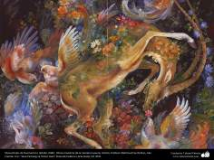 イスラム美術(マフムード・ファルシチアン画家によるミニチュア傑作 - 「恋に迷う湧き水」- 1984